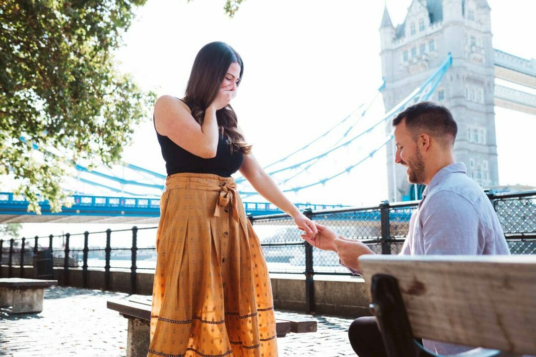 Proposal photography London taken by Tower Bridge, a popular landmark for family and couple's photography.