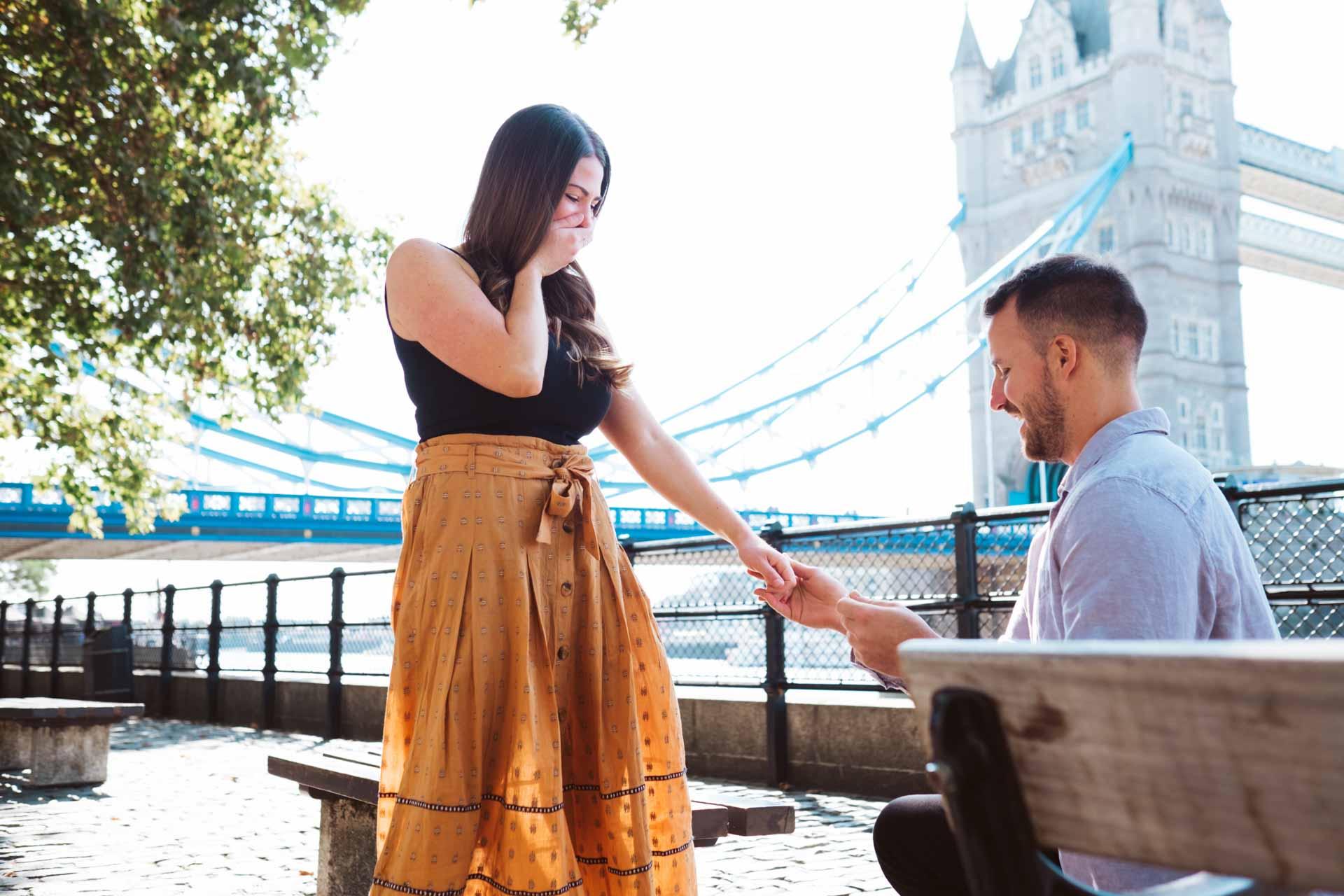 proposal photographer london by Tower Bridge